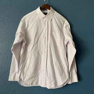 J. Crew White Pink 100's 2-Ply Button Up Shirt M